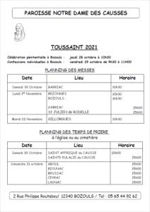 NDC planning des Messes Toussaint 2021